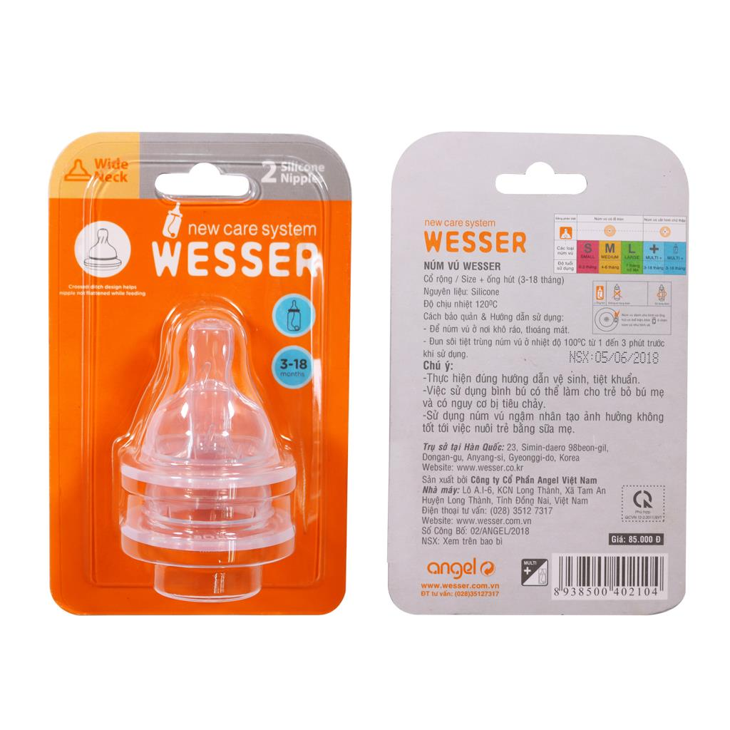 Wesser Wide Neck Nipple Size + (For Straw Bottle)